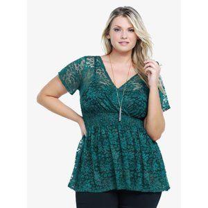 Torrid Green Metallic Lace Sheer V Neck Blouse 1X